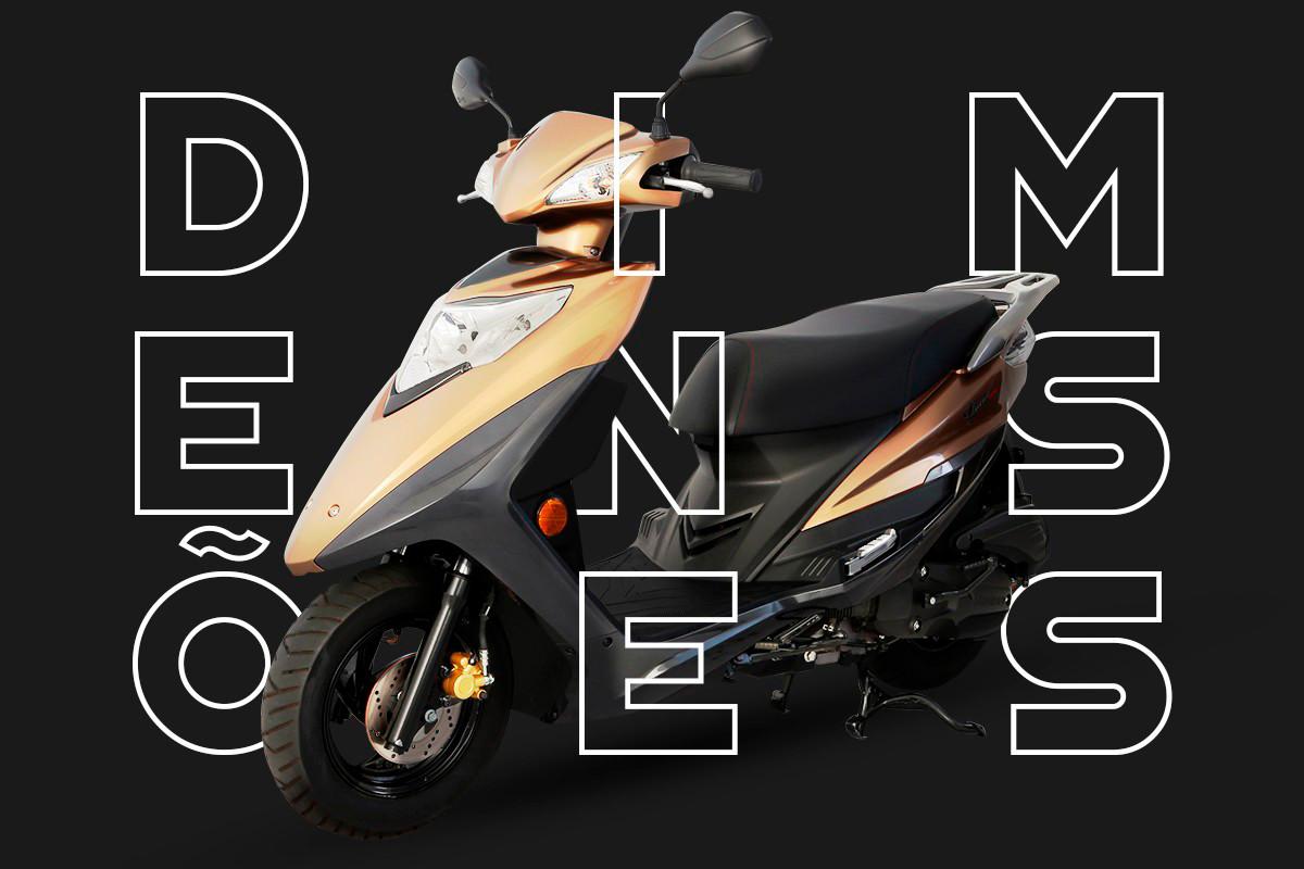 """Imagem da lindy marrom em um fundo escuro e a palavra \""""dimensões\"""" em destaque junto a moto"""