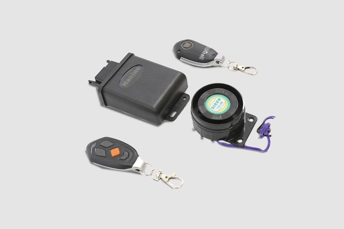Imagem das peças que compõem o alarma antifurto da Chopper