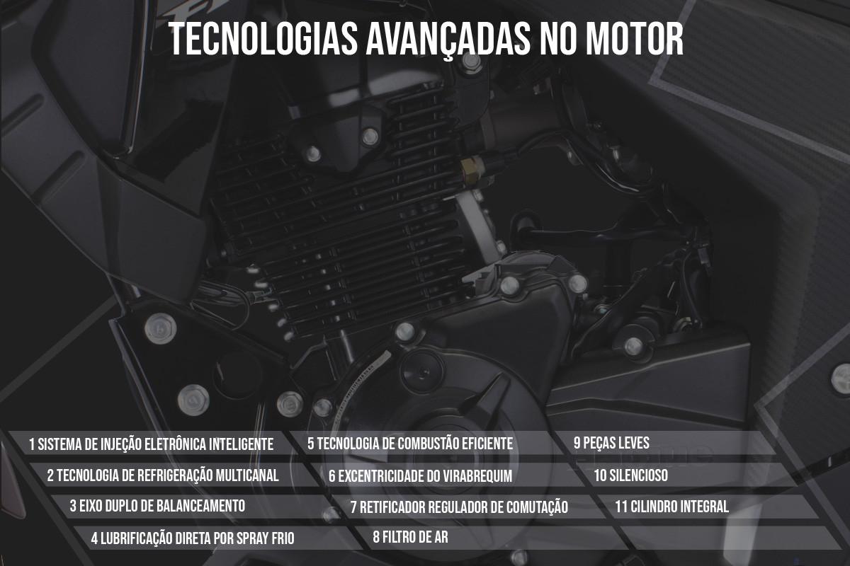 Imagem mostrando quais são as tecnologias do motor da DR 160 FI escritas