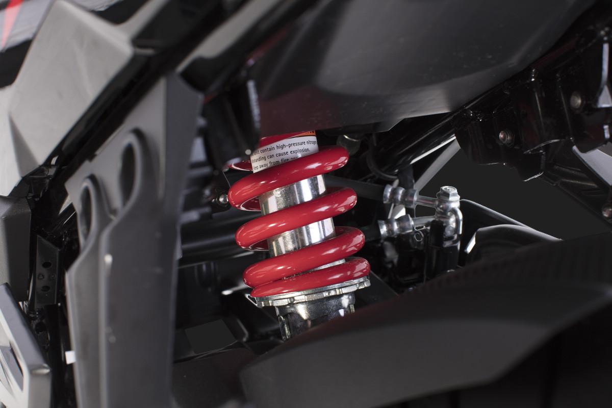 Imagem mostrando o amortecimento central da nova DR 160 FI
