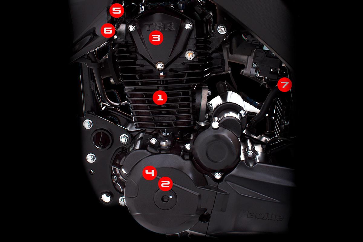 Imagem mostrando motor da DK 150 S, destacando em números os pontos importantes, em fundo escuro
