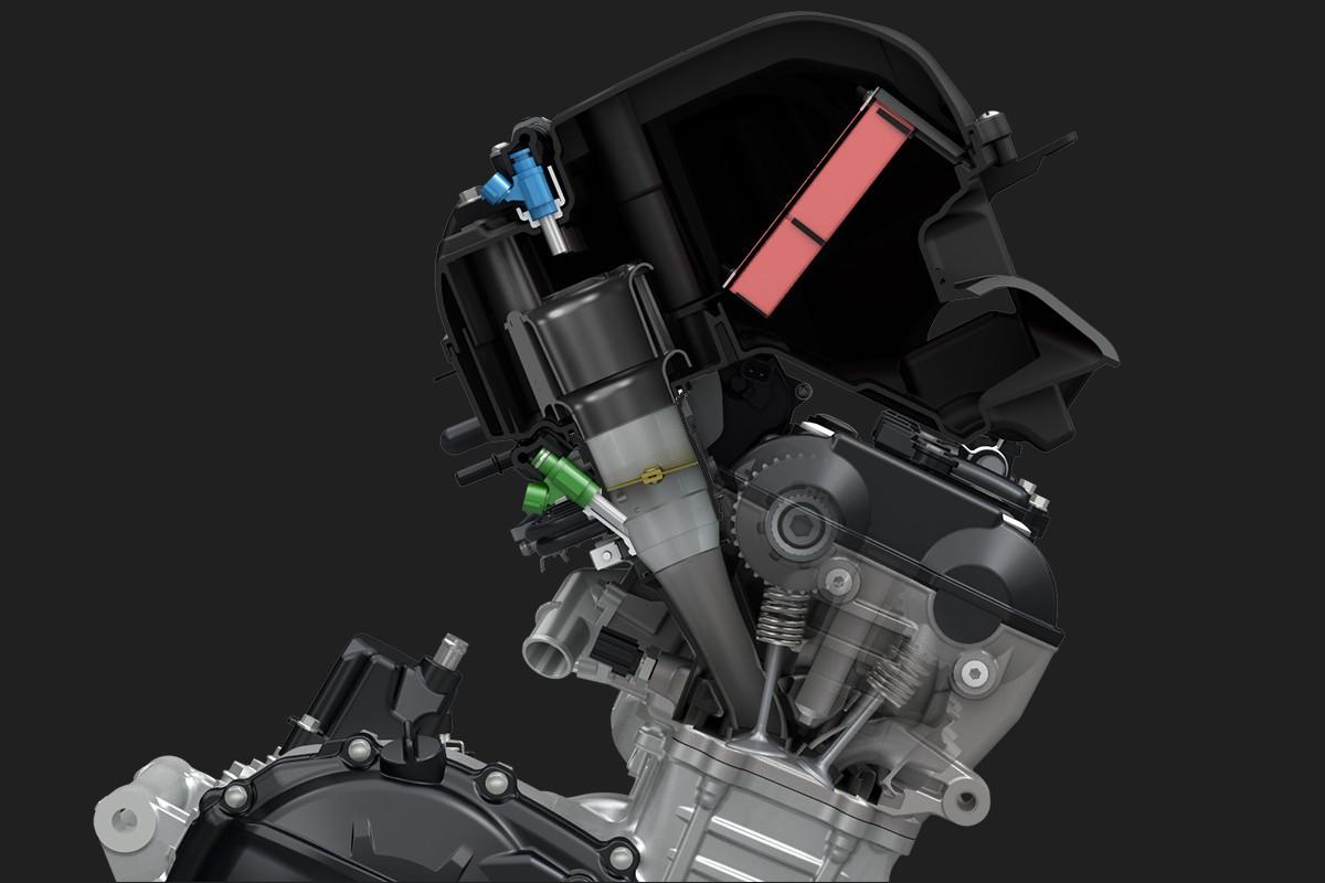 Imagem mostrando em 3D o sistema de injeção da GSX-R1000 em fundo escuro