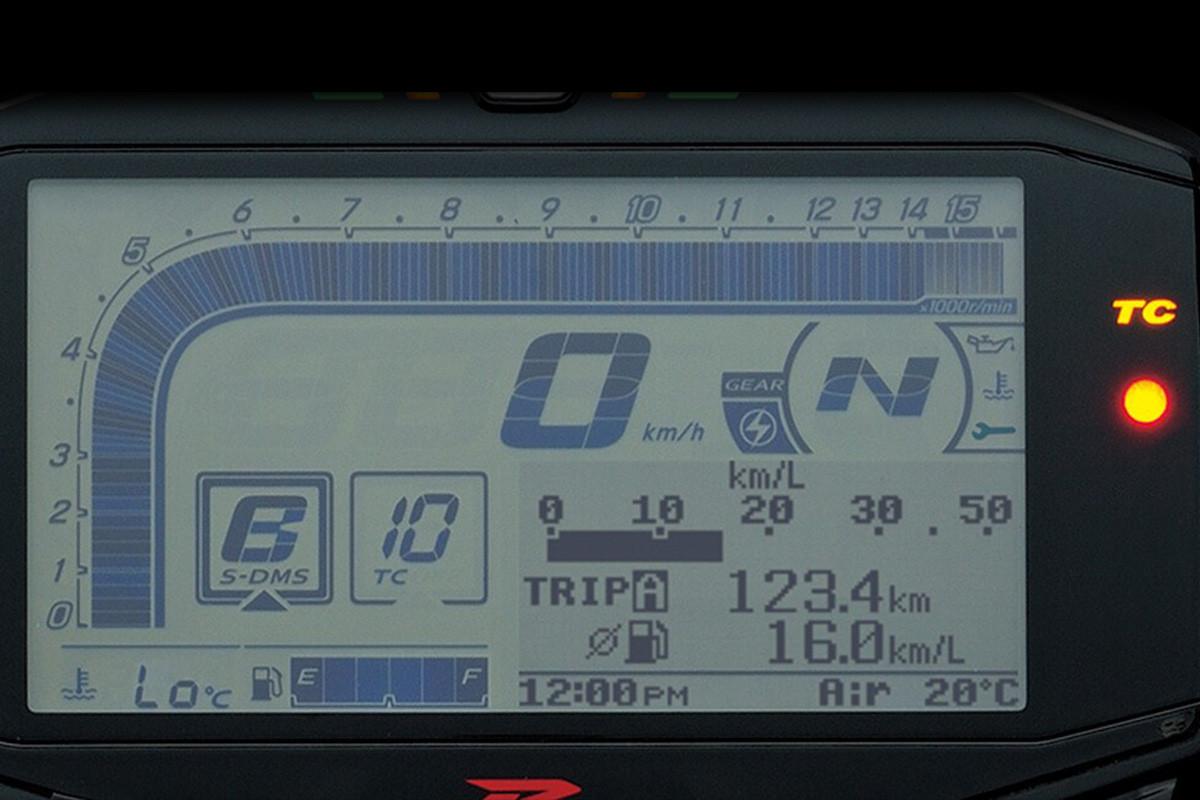 Imagem mostrando o painel da GSX-R1000 e focando no sensor de 10 níveis de intervenção