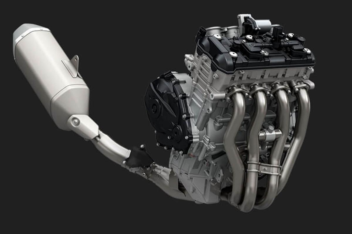 Imagem em 3D do sistema do escapamento da GSX-R1000 em fundo escuro