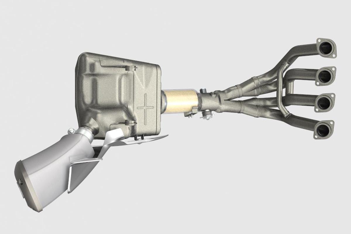 Imagem ilustrativa do sistema de escapamento da S1000FA que possui design com 4 canos que afunilam para 2 e depois para 1, com canais equalizadores entre os canos dos cilindros 1 e 4, e 2 e 3