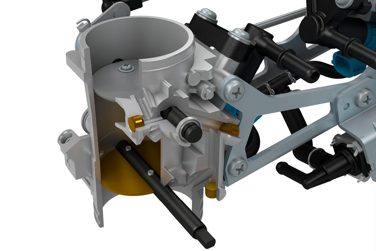 Imagem em 3D de como funciona o assistente de baixo RPM da V Strom