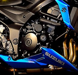 Foto ilustrativa da proteção embaixo da S750, que alem de proteger, agregou um design mais agressivo na motocicleta.