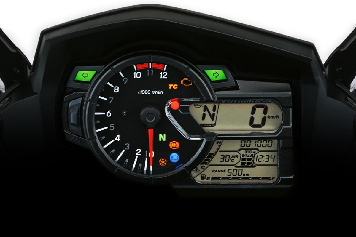 Imagem do painel de instrumentos da V Strom 650 onde é possível verificar várias informações da moto
