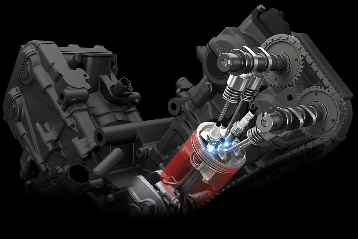 Imagem em 3D da tecnologia de faísca dupla da V Strom 650 em fundo escuro