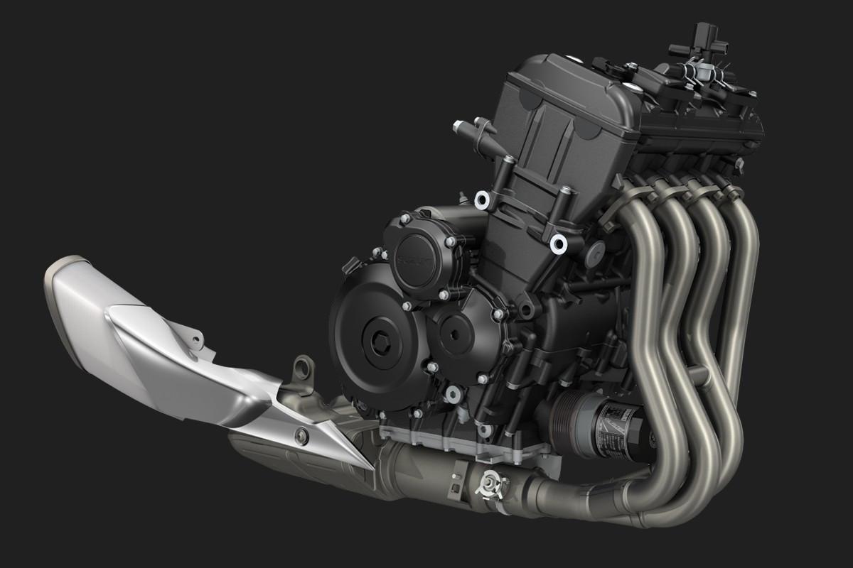 Imagem do motor da GSX-S1000 em fundo escuro